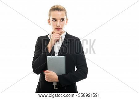 Young Female Assistant Manager Holding Agenda Making Thinking Gesture