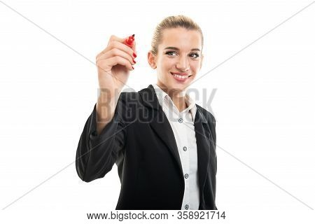 Young Female Assistant Manager Writing With Red Marker