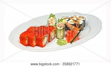 Sushi With Crab And Rolls With Tobiko, Crab, Avocado, Cucumber Eel And Nori. Ginger And Wasabi On Wh
