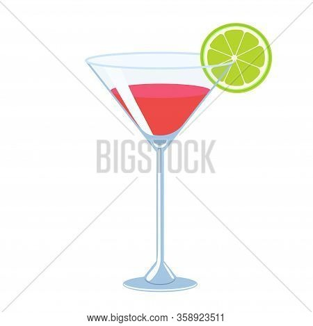Cosmopolitan Cocktail Isolate On A White Background. Vector Image.