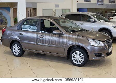 Russia, Izhevsk - March 19, 2020: Datsun Showroom. New Modern On-do Car In The Dealer Showroom. Back