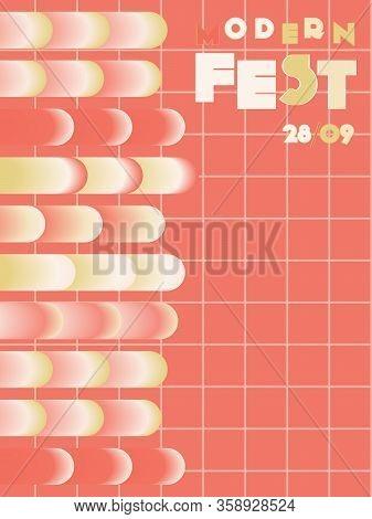 Music Cover In Blue, Violet, Pink, Orange Colors. Rock Concert Flyer. Minimal Tech Brochure. Amplitu