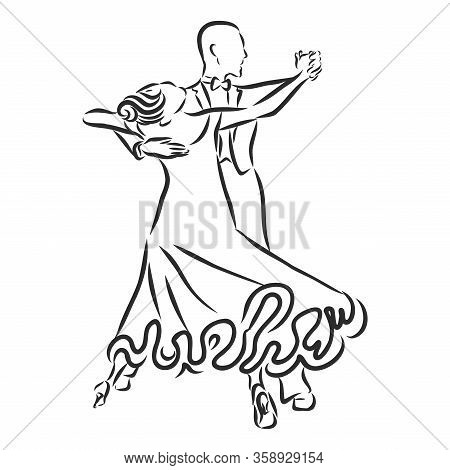 Dancing Couple Logo Isolated On White Background. Waltz Dancers Silhouette. Ballroom Dancers Vector