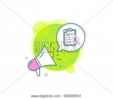 Audit Sign. Megaphone Promotion Complex Icon. Accounting Report Line Icon. Check Finance Symbol. Bus