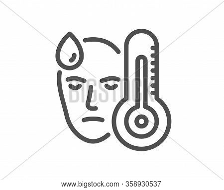 Sick Man With Fever Line Icon. Temperature Thermometer Sign. Flu Illness Symbol. Quality Design Elem
