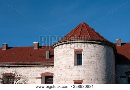 Detail Of Historic Fortress Of 19th Century With Tower Of Limestone Blocks On A Sunny Day