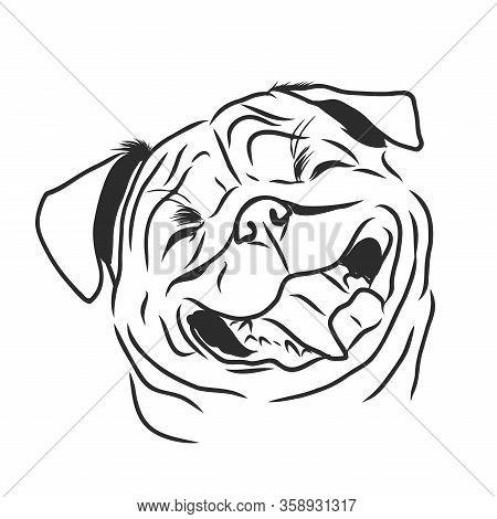 Pug Dog Hand Drawn Vector. Funny Happy Smiling Pug. Dog Icon, Logo.