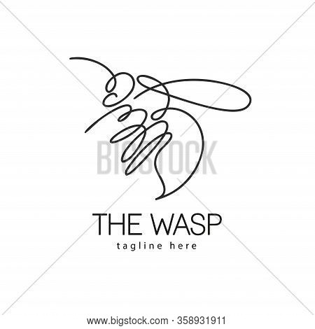 Continuous Line Bee Logo Vector Icon, Bumblebee Outline Monoline Linear Illustration.