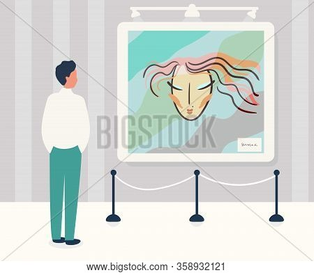 Man In Contemporary Art Gallery Vector Illustration. Abstract Paintings.museum Exposition. Drawing C
