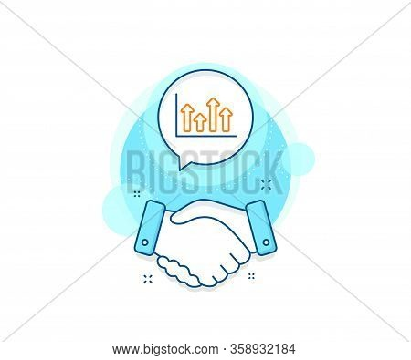 Financial Graph Sign. Handshake Deal Complex Icon. Growth Chart Line Icon. Upper Arrows Symbol. Busi