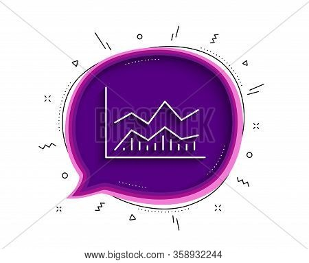 Line Chart Icon. Chat Bubble With Shadow. Financial Growth Graph Sign. Stock Exchange Symbol. Thin L