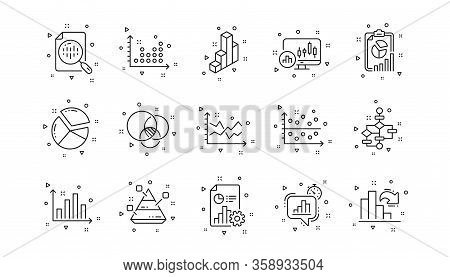 Infochart, Block Diagram And Algorithm. Charts And Graphs Line Icons. Presentation Linear Icon Set G