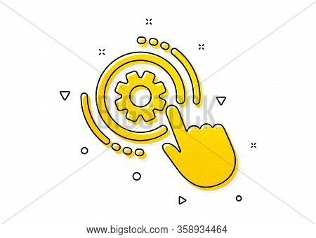 Engineering Tool Sign. Cogwheel Settings Icon. Cog Gear Symbol. Yellow Circles Pattern. Classic Cogw