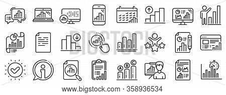 Set Of Chart Presentation, Report, Increase Growth Graph Icons. Graph Line Icons. Analytics Testing,