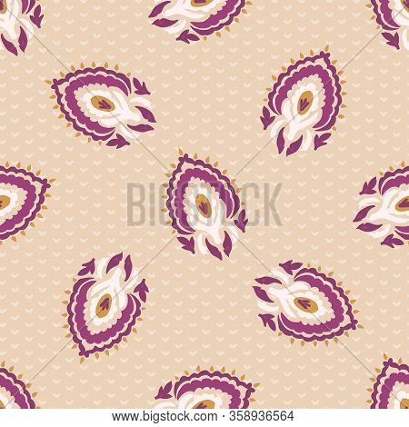 Old Indian Arabesque Paisley Buta Leaf Seamless Vector Pattern. Ornate Color Marsala Red Blush Middl