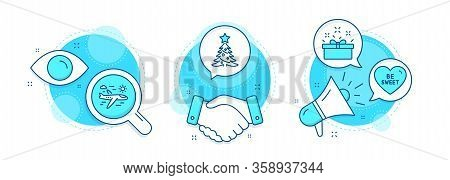 Airplane Travel, Present Box And Be Sweet Line Icons Set. Handshake Deal, Research And Promotion Com