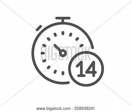 Quarantine Timer Line Icon. Coronavirus Incubation Period Sign. Self-isolation Symbol. Quality Desig