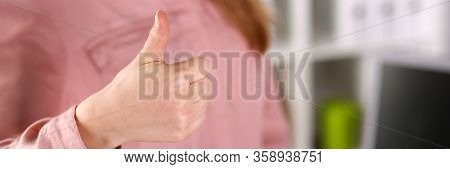 Girl In Business Clothes Shows Approval Gesture. Girl Is Interested In Gaining Knowledge In Field Me