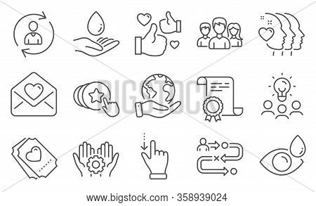 Set Of People Icons, Such As Touchscreen Gesture, Friends Couple. Diploma, Ideas, Save Planet. Emplo