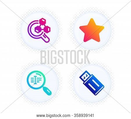 Search Text, Chemistry Lab And Star Icons Simple Set. Button With Halftone Dots. Usb Flash Sign. Fin