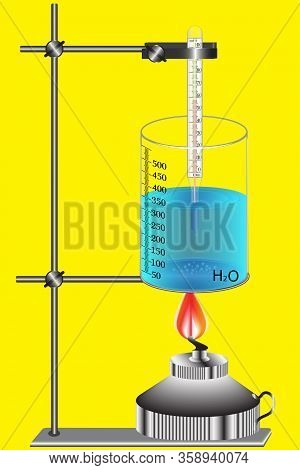 Studying The Theme Of Thermal Phenomena, The Water Heats Up On Fire - Receives The Amount Of Heat Th