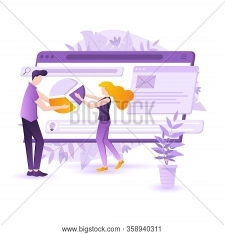 Flat Design Concept People Interactive Working Analyzing Statistics And Business Charts. Data Visual