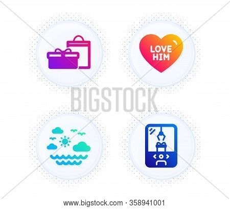 Gifts, Love Him And Travel Sea Icons Simple Set. Button With Halftone Dots. Crane Claw Machine Sign.