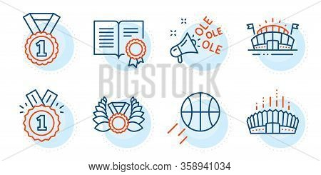 Ole Chant, Arena Stadium And Laureate Medal Signs. Basketball, Sports Arena And Approved Line Icons