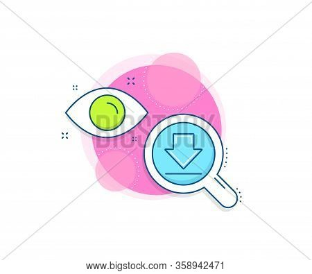 Internet Downloading Sign. Research Complex Icon. Download Line Icon. Load File Symbol. Analytics Or