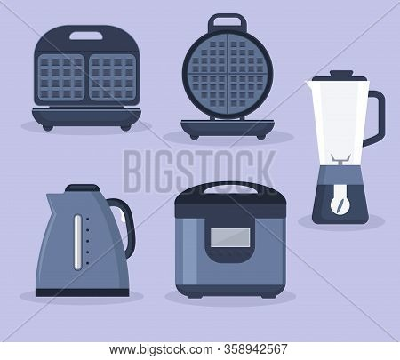 Kitchen Appliances Collection. Vector Collection Of Kitchen Appliances Icons. Waffle Iron, Mixer, Sl