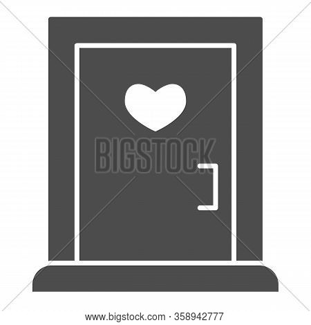 Love Doorway Solid Icon. Close Door With Heart Shaped Window Symbol, Glyph Style Pictogram On White