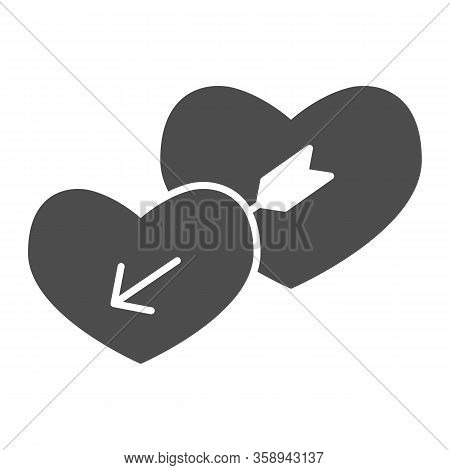 Lovers Hearts Solid Icon. Amour Shape Of Heart And Cupids With Arrow Symbol, Glyph Style Pictogram O