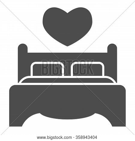 Double Bed And Pillows Solid Icon. Bedding Furniture With Heart Shape Symbol, Glyph Style Pictogram