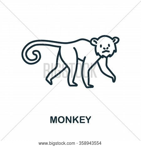 Monkey Icon From Wild Animals Collection. Simple Line Monkey Icon For Templates, Web Design And Info
