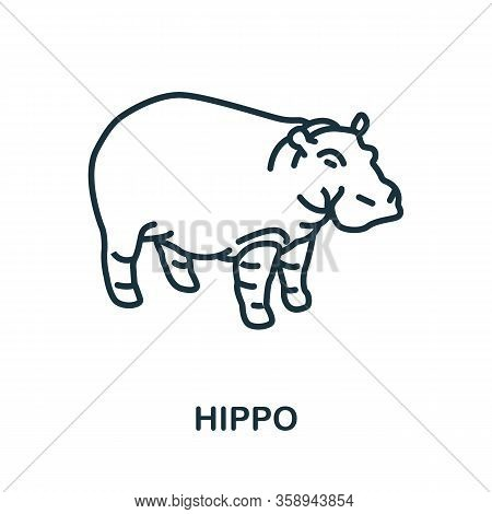 Hippo Icon From Wild Animals Collection. Simple Line Hippo Icon For Templates, Web Design And Infogr
