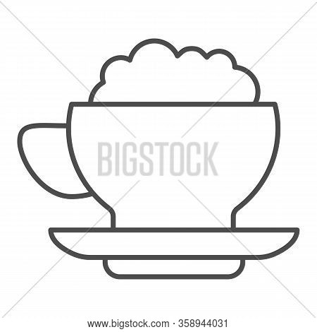Coffee With Cream Thin Line Icon. Hot Drink Mug Of Frappe And Milk Ice-cream Symbol, Outline Style P