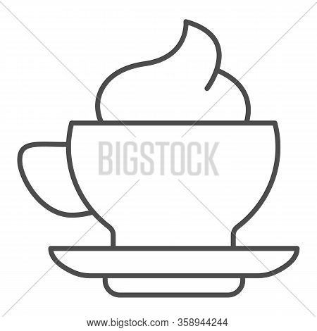Coffee And Cream Thin Line Icon. Hot Drink Mug Of Frappe With Milk Ice-cream Symbol, Outline Style P