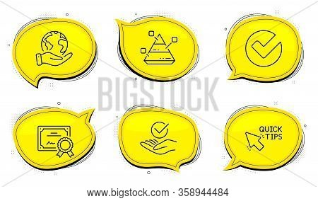 Pyramid Chart Sign. Diploma Certificate, Save Planet Chat Bubbles. Verify, Approved And Quick Tips L