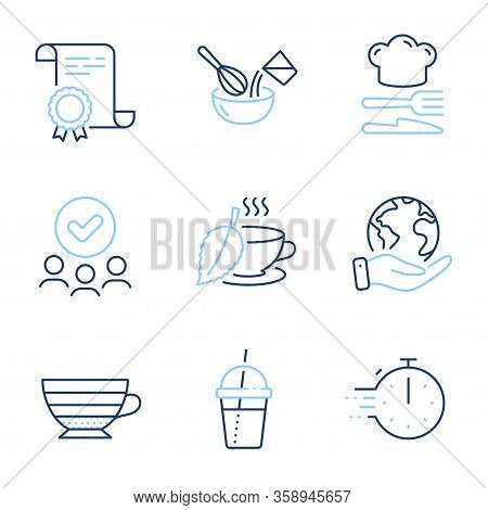 Cappuccino, Cooking Whisk And Mint Tea Line Icons Set. Diploma Certificate, Save Planet, Group Of Pe