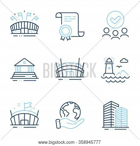 Lighthouse, Arena Stadium And Sports Arena Line Icons Set. Diploma Certificate, Save Planet, Group O