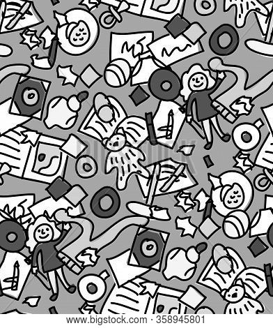 Floor With Children Toys Mess Seamless Pattern Grayscale