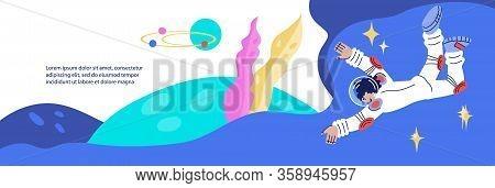 Banner Or Flyer Background For Cosmonautics Day Cartoon Vector Illustration.