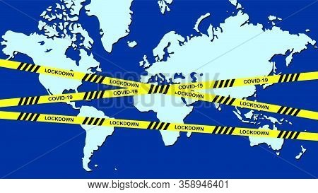 All The World Lock Down And Stay At Home With Cross Line. Lock Down And Physical Distancing To Avoid