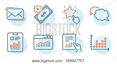 Report Document, Ranking Star And Rejected Payment Signs. Document, Messenger And Dot Plot Line Icon