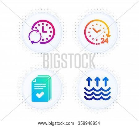 Update Time, 24 Hours And Handout Icons Simple Set. Button With Halftone Dots. Evaporation Sign. Ref