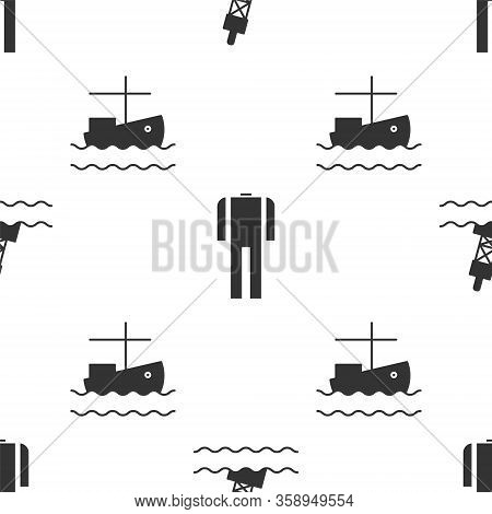 Set Floating Buoy On The Sea, Wetsuit For Scuba Diving And Fishing Boat On Water On Seamless Pattern