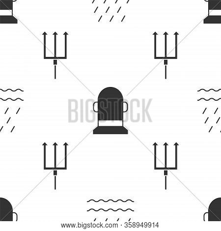 Set Rain And Waves, Buoy And Neptune Trident On Seamless Pattern. Vector