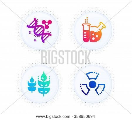Chemistry Lab, Chemistry Dna And Gluten Free Icons Simple Set. Button With Halftone Dots. Chemical H