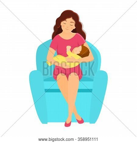 Mother Breastfeeding Baby. Flat Style. Vector Illustration