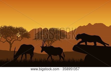 Illustration Of African Landscape And Safari. A Lioness Or Leopard Hunts Two Antelopes. Orange Sky W